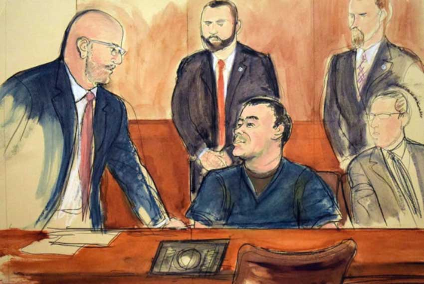 An artist's sketch of Joaquin Guzmán at a 2018 pretrial hearing in New York.