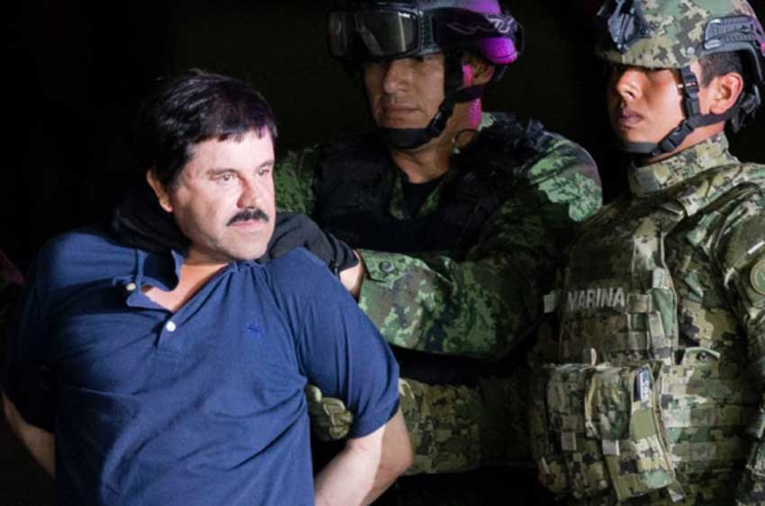 Guzmán after his capture by Mexican marines in January 2016