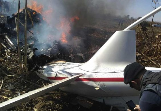 The helicopter shortly after it crashed December 24 in Puebla.