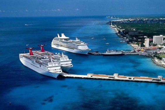 Cruise ships moored at Cozumel, Mexico's most popular destination.