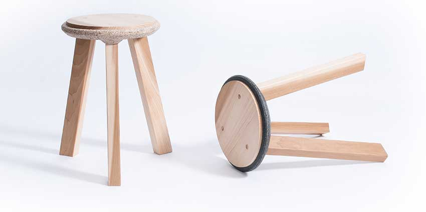 Stools made with recycled plastic trim.