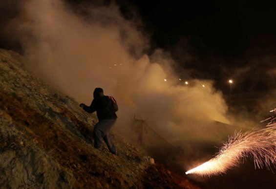 Tear gas at the border yesterday.