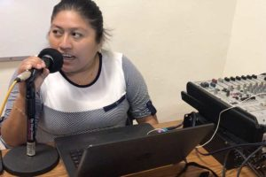 María del Socorro Cauich Caamal hosts the weekly Radio Yuuyum show in Yucatecan Maya.