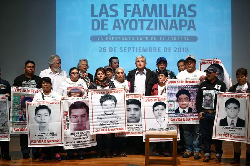 President López Obrador with the families of the 43 students who went missing in 2014 in Guerrero