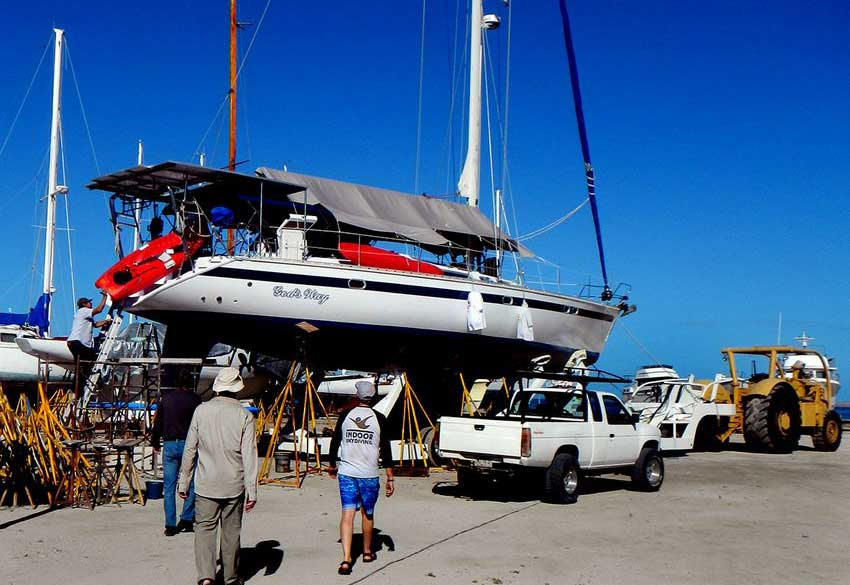 The sloop God's Way in dry dock at a La Paz Marina.