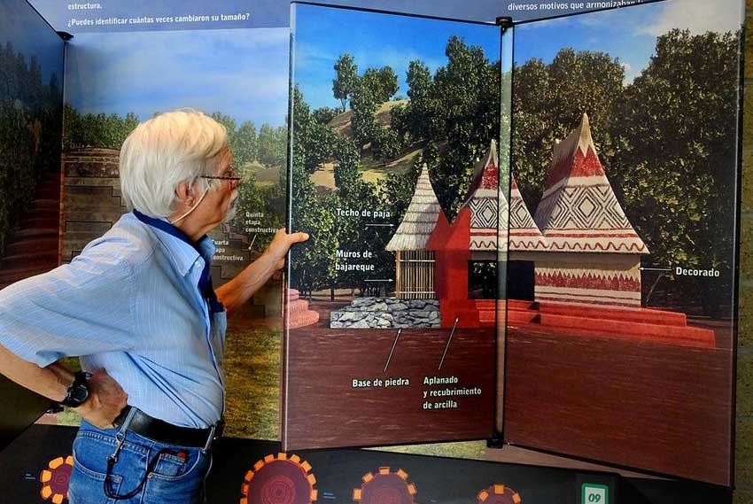 A display explains how houses were constructed 2,000 years ago.