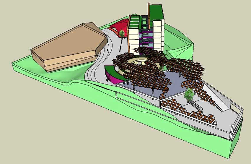 An architectural rendition of the proposed new music school.