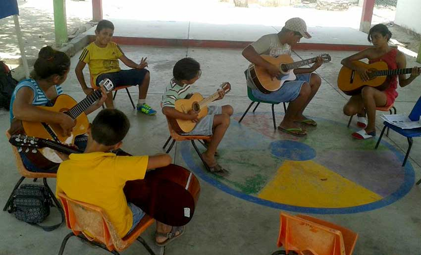 Guitar students at Zihuatanejo's school of music.