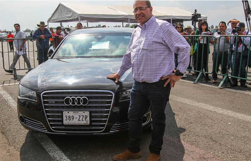 Herrera and his armored Audi, for which he paid nearly 2 million pesos.