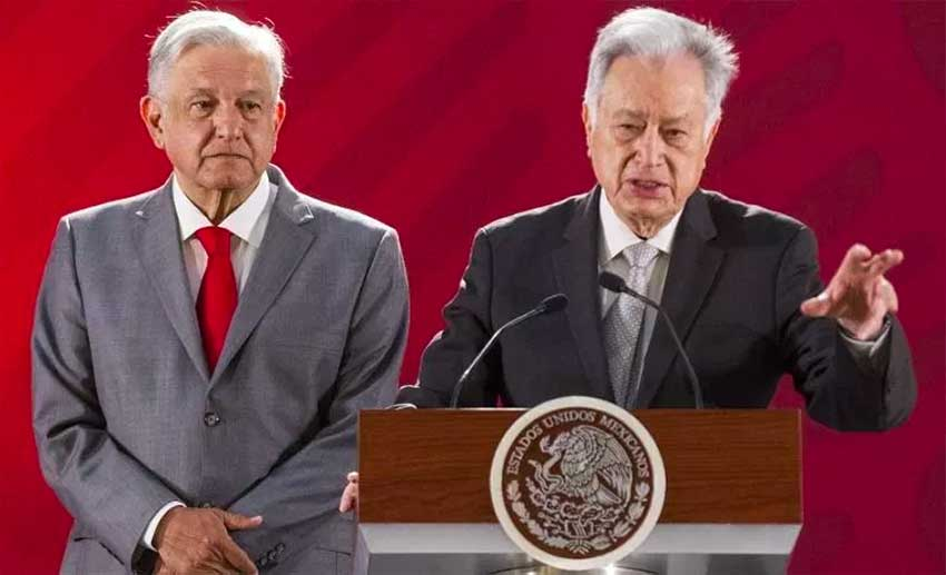 AMLO, left, and Bartlett at this morning's press conference.
