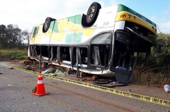 Six people died after this bus rolled over on a highway in Campeche.