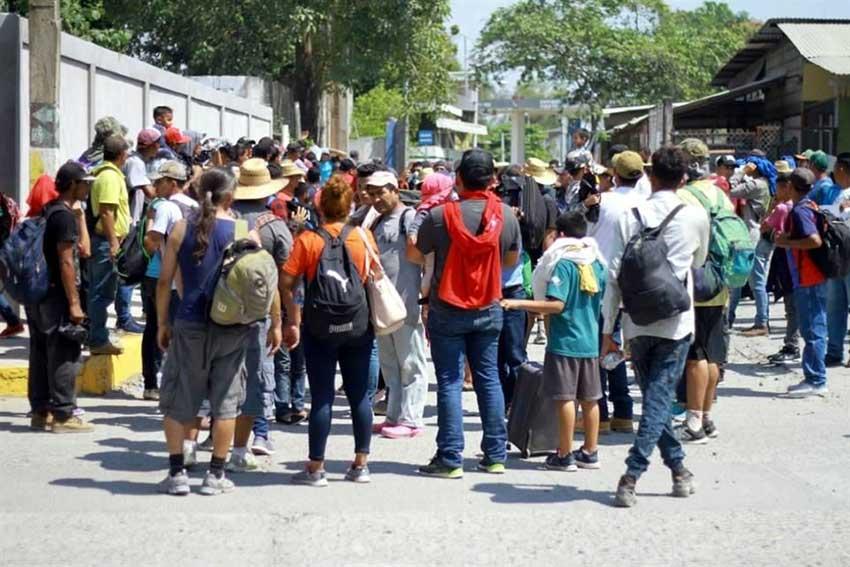 Migrants arrive yesterday in Chiapas.
