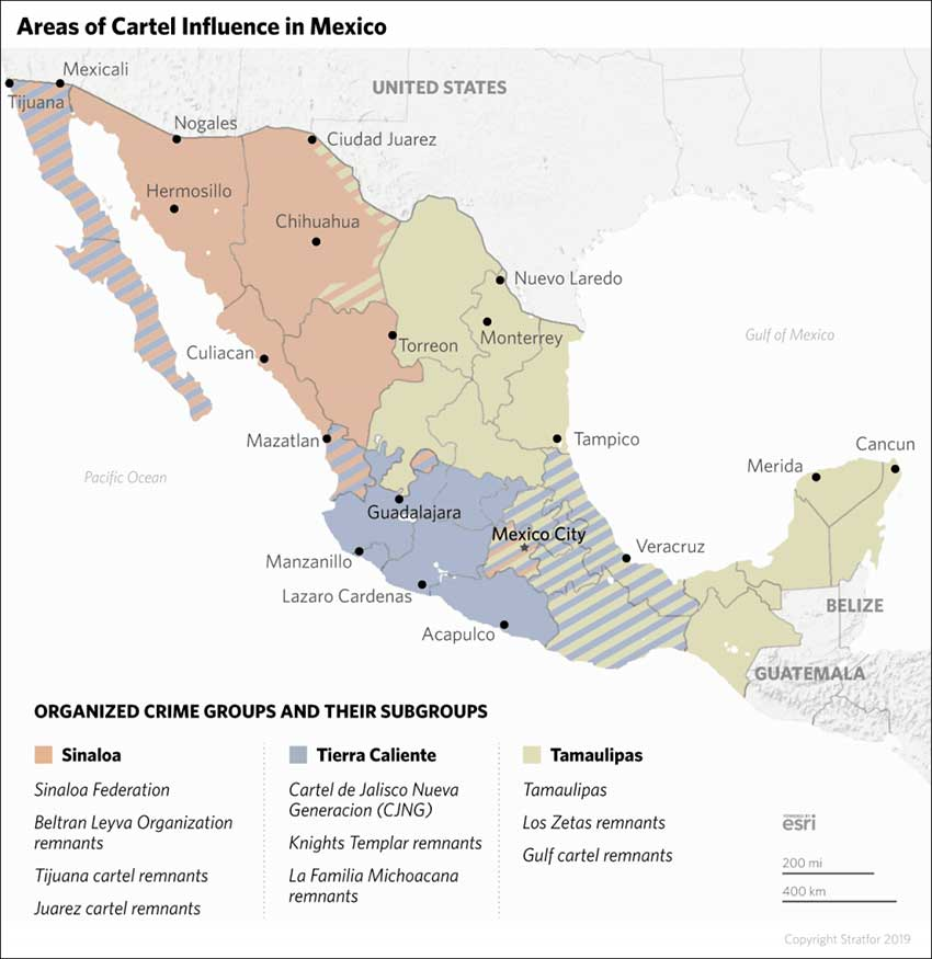 areas of cartel influence