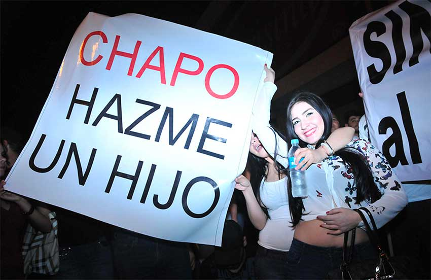 'Chapo, give me a child,' reads a sign in Sinaloa after Guzmán was captured in 2014.