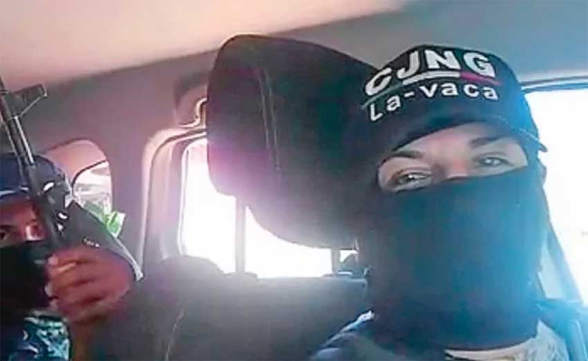 A frame from the video: CJNG or not?