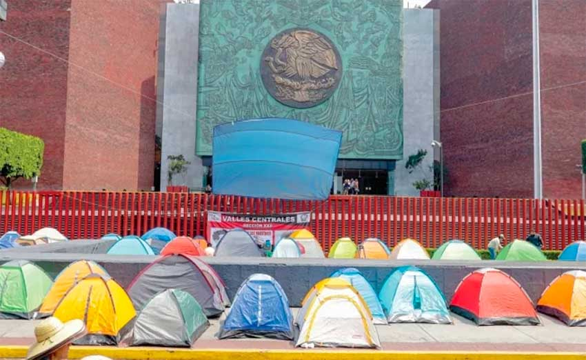 Teachers' campsite in Mexico City this week.