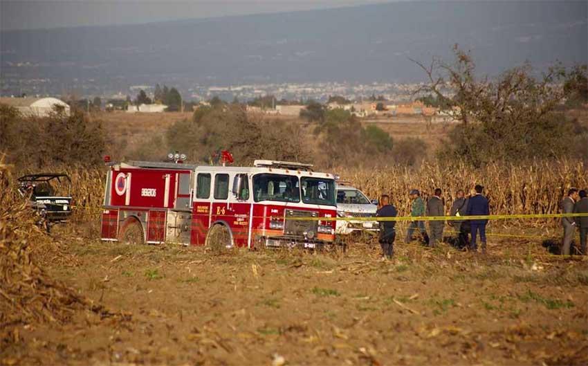 Scene of the Puebla helicopter crash.