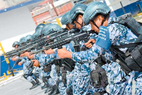 The special naval force in a training session.