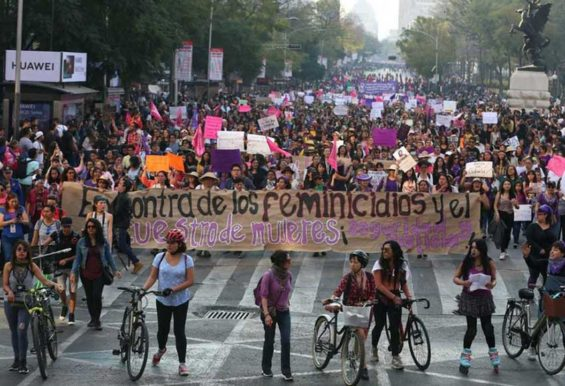Marchers in Mexico City yesterday protest femicides and kidnappings.