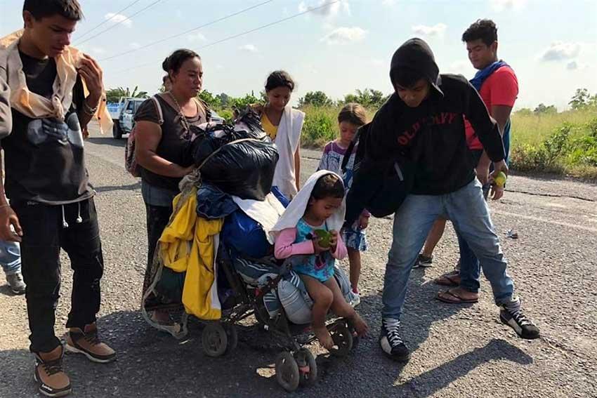Migrants on the road in Chiapas.