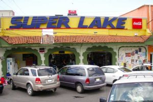 The scam began outside the Super Lake store.