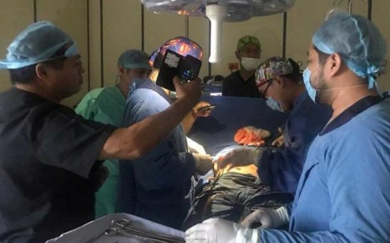 Cell phones light up operating room.