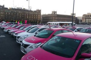 Taxis in Mexico City's zócalo this morning.