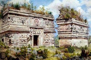 Adela Breton's watercolor of the east façade of the 'Nunnery' at Chichén Itzá.