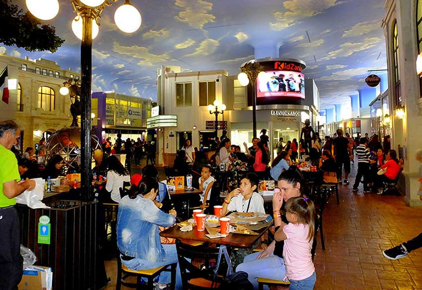 A typical view of KidZania, where the streets are always bustling with activity.