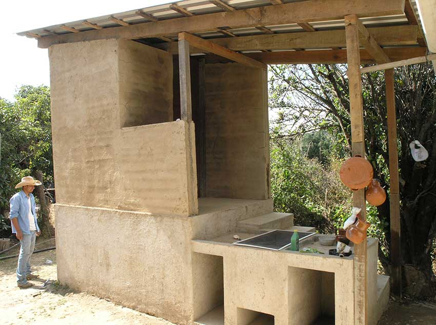 The dry bathroom of an adobe home in Hueyapan, Morelos.
