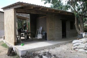 A nearly completed adobe home in Hueyapan, Morelos