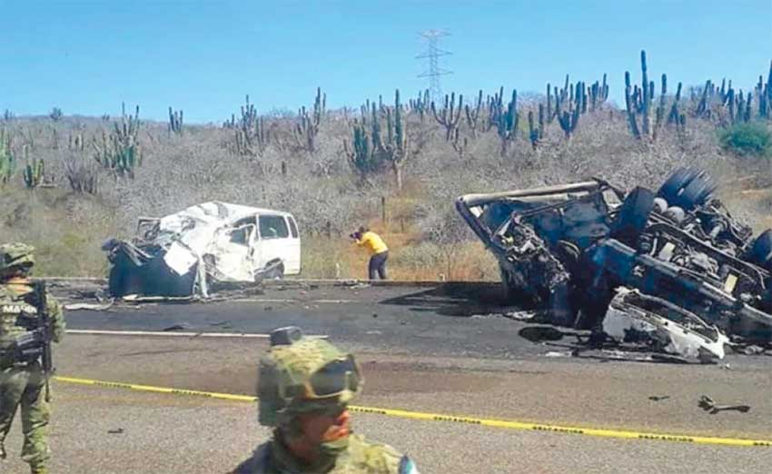 The wreckage of yesterday's accident in Baja.
