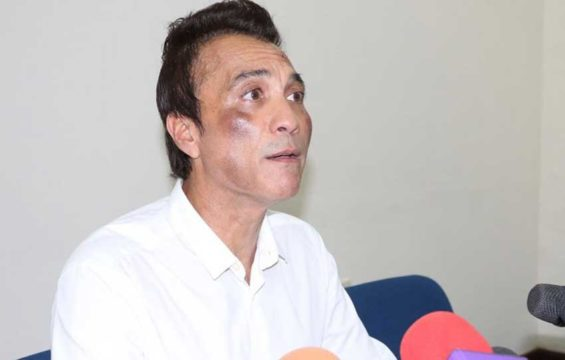 Colima's former tourism secretary addresses a press conference yesterday.