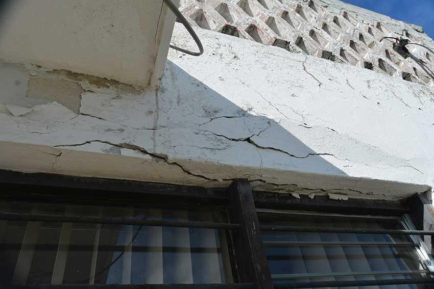 Beware of falling concrete.