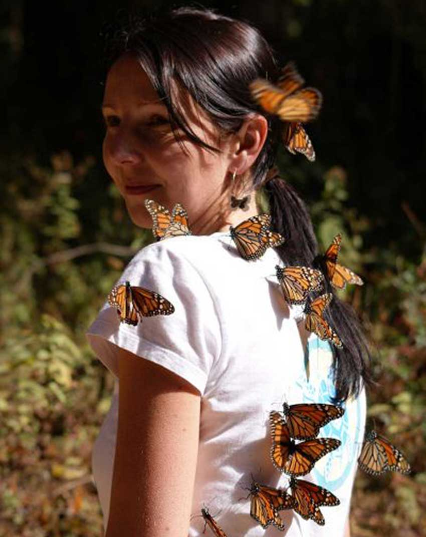 A young girl covered in butterflies.