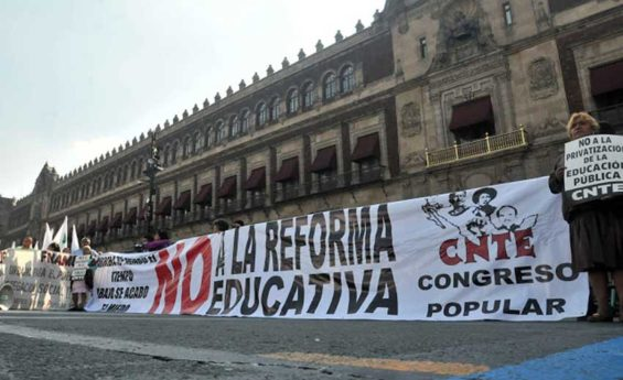 Teachers during a protest last month at the National Palace in Mexico City.