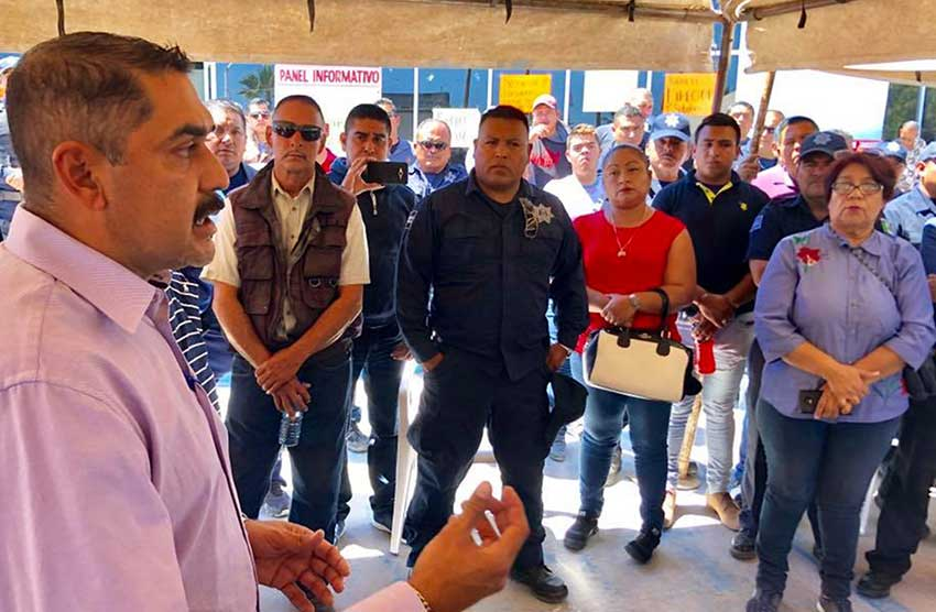 Mayor Valenzuela addresses members of the police department on Sunday.
