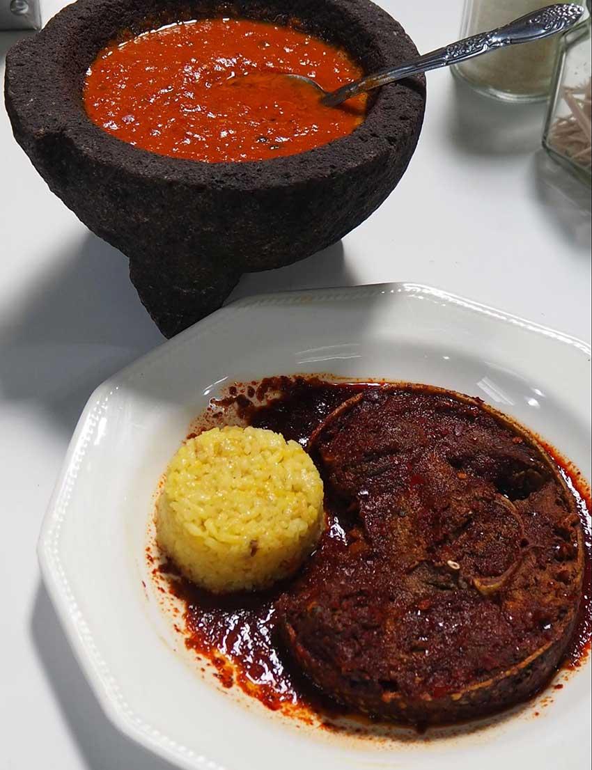 Three-chile armadillo at La Sorpresa restaurant.