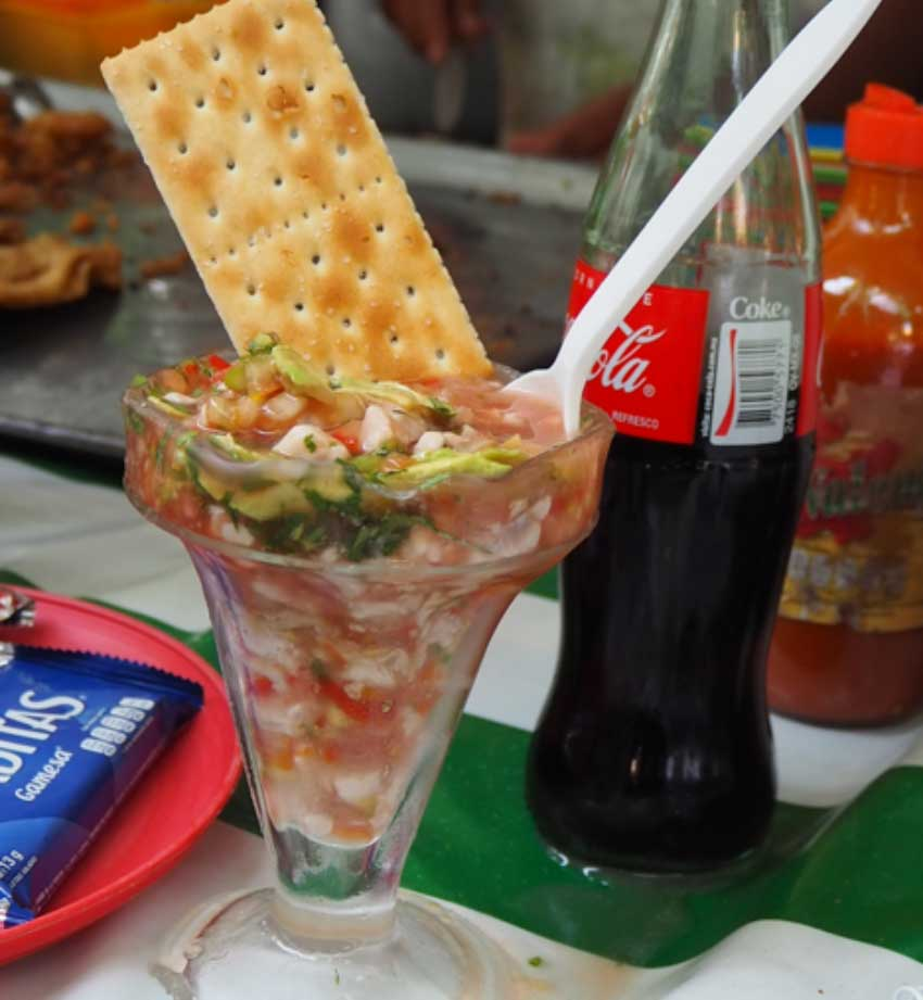 The beautiful fish cocktail from Los Pescaditos at Condesa Friday Market.