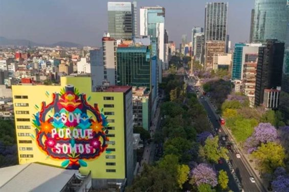 One of the murals is on a building on Paseo de la Reforma.