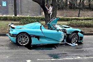 The Koenigsegg after yesterday's accident.