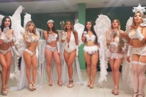Winged models helped celebrate the anniversary of the expropriation of the oil industry.