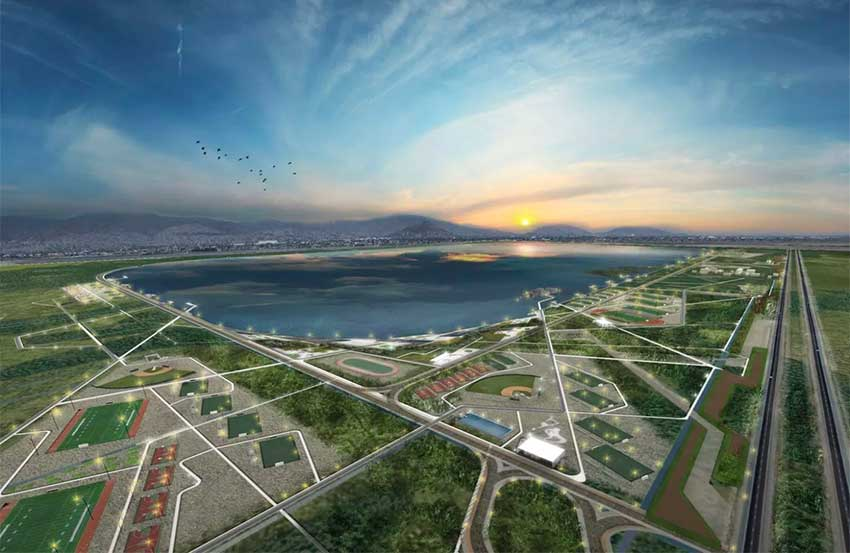 Architectural rendering of the Lake Texcoco ecological park.