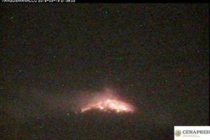The volcano at 9:38pm Monday.