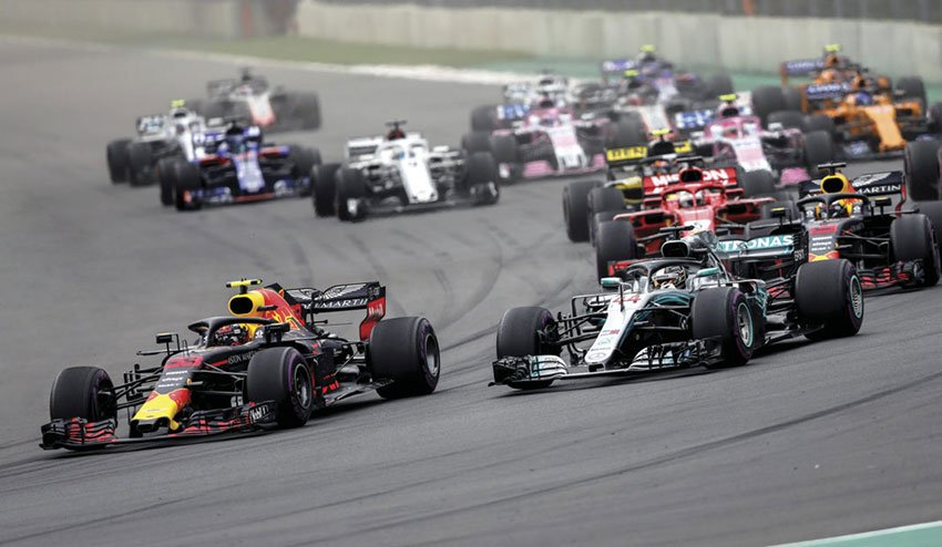 Cars on the track in last year's Formula 1 race.