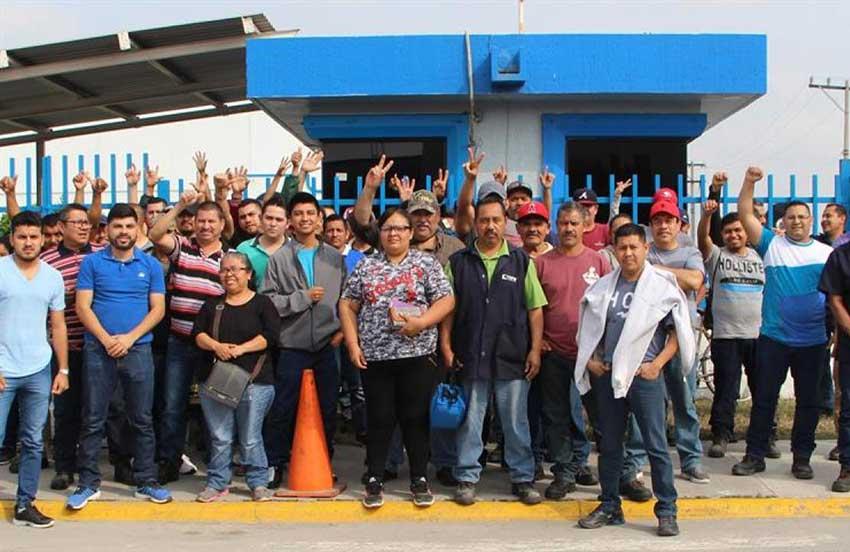 Striking workers in Matamoros.