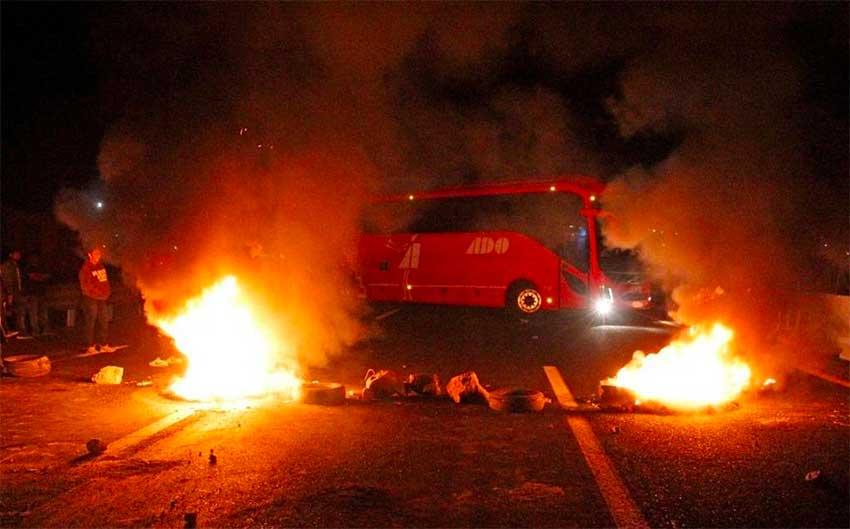 Friday's blockade on the Mexico City-Puebla highway.