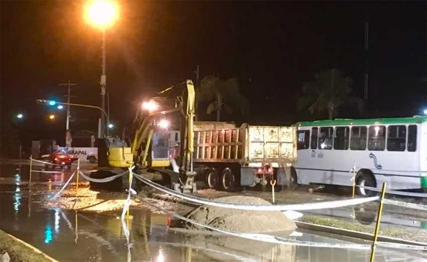 Crews work to repair sewer system in Puerto Vallarta.