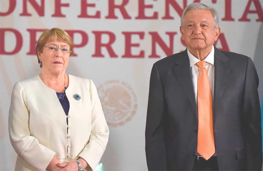 Bachelet and López Obrador at yesterday's press conference.