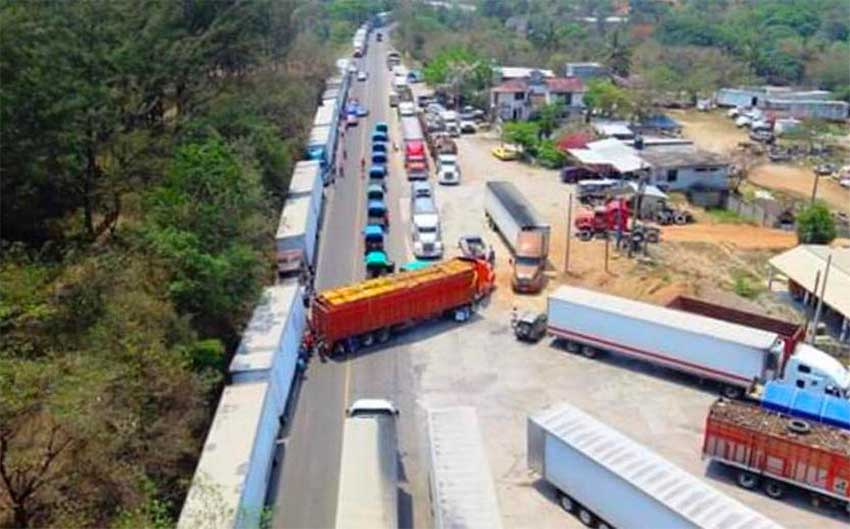 Trucks stranded by the blockade in Oaxaca.